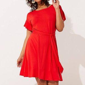 NWT LOFT Tie Waist Flounce Dress Size 22